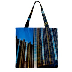 Two Abstract Architectural Patterns Zipper Grocery Tote Bag by Simbadda