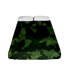 Camouflage Green Army Texture Fitted Sheet (full/ Double Size) by Simbadda