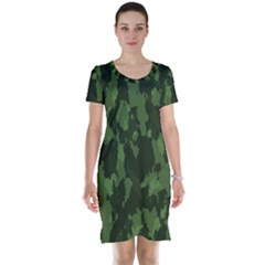 Camouflage Green Army Texture Short Sleeve Nightdress