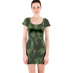 Camouflage Green Army Texture Short Sleeve Bodycon Dress
