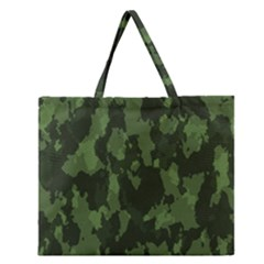 Camouflage Green Army Texture Zipper Large Tote Bag by Simbadda