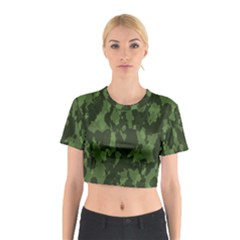 Camouflage Green Army Texture Cotton Crop Top by Simbadda