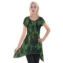 Camouflage Green Army Texture Short Sleeve Side Drop Tunic