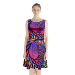 3d Fractal Mandelbulb Sleeveless Chiffon Waist Tie Dress by Simbadda