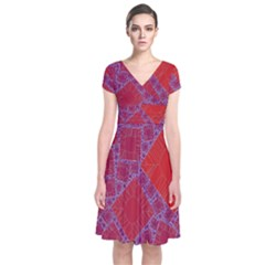Voronoi Diagram Short Sleeve Front Wrap Dress