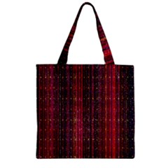 Colorful And Glowing Pixelated Pixel Pattern Zipper Grocery Tote Bag by Simbadda