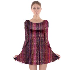Colorful And Glowing Pixelated Pixel Pattern Long Sleeve Skater Dress by Simbadda