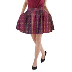 Colorful And Glowing Pixelated Pixel Pattern A Line Pocket Skirt by Simbadda