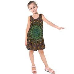 Vibrant Colorful Abstract Pattern Seamless Kids  Sleeveless Dress by Simbadda