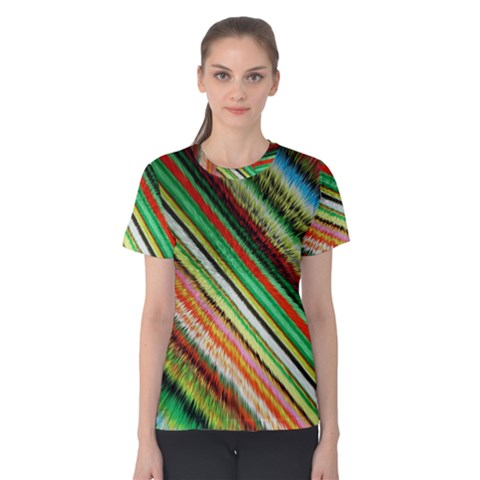 Colorful Stripe Extrude Background Women s Cotton Tee by Simbadda
