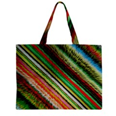 Colorful Stripe Extrude Background Zipper Mini Tote Bag by Simbadda