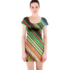 Colorful Stripe Extrude Background Short Sleeve Bodycon Dress by Simbadda