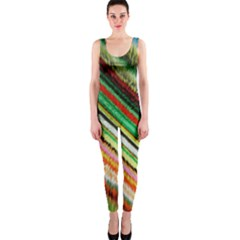 Colorful Stripe Extrude Background Onepiece Catsuit by Simbadda