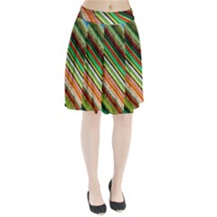Colorful Stripe Extrude Background Pleated Skirt