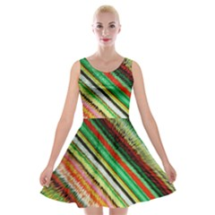 Colorful Stripe Extrude Background Velvet Skater Dress