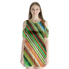 Colorful Stripe Extrude Background Shoulder Cutout Velvet  One Piece