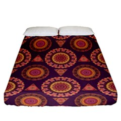 Abstract Seamless Mandala Background Pattern Fitted Sheet (queen Size) by Simbadda