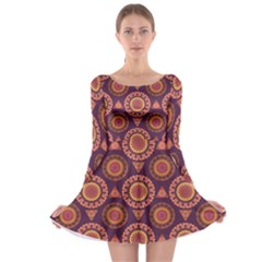 Abstract Seamless Mandala Background Pattern Long Sleeve Skater Dress