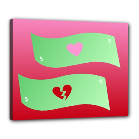 Money Green Pink Red Broken Heart Dollar Sign Canvas 20  X 16