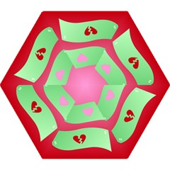 Money Green Pink Red Broken Heart Dollar Sign Mini Folding Umbrellas by Alisyart