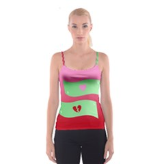 Money Green Pink Red Broken Heart Dollar Sign Spaghetti Strap Top