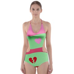 Money Green Pink Red Broken Heart Dollar Sign Cut Out One Piece Swimsuit