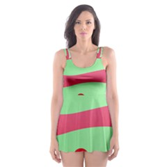 Money Green Pink Red Broken Heart Dollar Sign Skater Dress Swimsuit