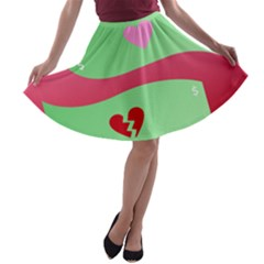 Money Green Pink Red Broken Heart Dollar Sign A Line Skater Skirt