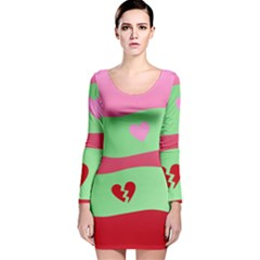 Money Green Pink Red Broken Heart Dollar Sign Long Sleeve Velvet Bodycon Dress