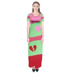 Money Green Pink Red Broken Heart Dollar Sign Short Sleeve Maxi Dress
