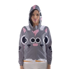 Mouse Grey Face Hooded Wind Breaker (women)