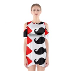 Mustache Black Red Lips Shoulder Cutout One Piece