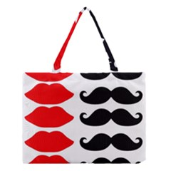 Mustache Black Red Lips Medium Tote Bag by Alisyart