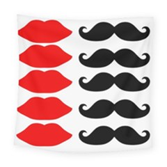 Mustache Black Red Lips Square Tapestry (large) by Alisyart