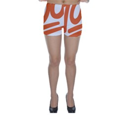 Number 100 Orange Skinny Shorts by Alisyart
