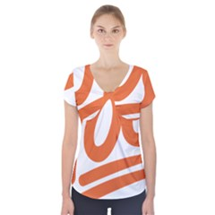 Number 100 Orange Short Sleeve Front Detail Top