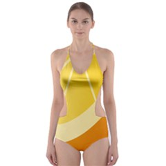 Orange Lime Yellow Fruit Fress Cut Out One Piece Swimsuit