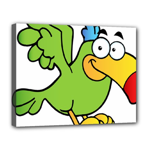 Parrot Cartoon Character Flying Canvas 14  X 11