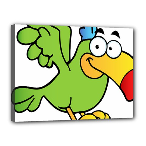 Parrot Cartoon Character Flying Canvas 16  X 12