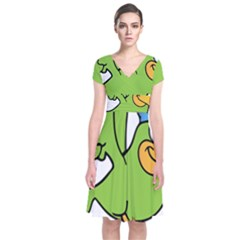Parrot Cartoon Character Flying Short Sleeve Front Wrap Dress by Alisyart