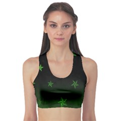 Nautical Star Green Space Light Sports Bra by Alisyart