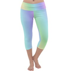 Multi Color Pastel Background Capri Yoga Leggings by Simbadda