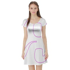 Pipe Template Cigarette Holder Pink Short Sleeve Skater Dress