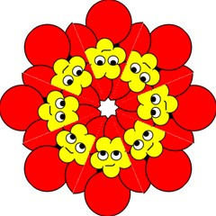 Poppy Smirk Face Flower Red Yellow Folding Umbrellas by Alisyart