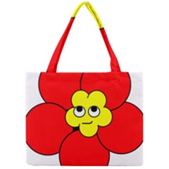 Poppy Smirk Face Flower Red Yellow Mini Tote Bag