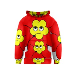 Poppy Smirk Face Flower Red Yellow Kids  Pullover Hoodie