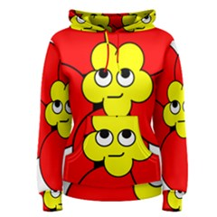 Poppy Smirk Face Flower Red Yellow Women s Pullover Hoodie