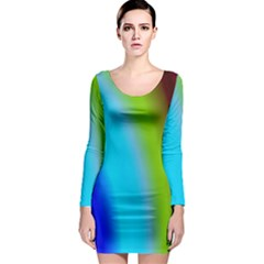 Multi Color Stones Wall Multi Radiant Long Sleeve Bodycon Dress by Simbadda