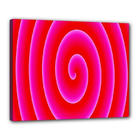 Pink Hypnotic Background Canvas 20  X 16  by Simbadda