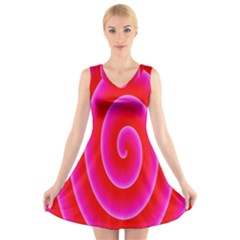 Pink Hypnotic Background V Neck Sleeveless Skater Dress